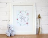 DIGITAL DOWNLOAD | bible verse print | calligraphy print | jeremiah 1:15 | nursery wall art | floral wreath print | nursery printable