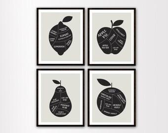 Vegan Art - Vegan Prints - Butcher Diagrams - Vegan Butcher Prints - Fruit Diagrams - Fruit Art Print - Black and Neutral