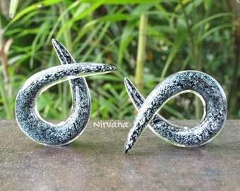 "Silver Dichroic Glass Single Twists Spirals 10g 8g 6g 4g 2g 0g 00g 7/16"" 1/2"" 9/16"" 5/8""  3 mm 4 mm 5 mm 6 mm 8 mm  - 16 mm"