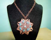 Vintage Mid-Century '50s COPPER Glitter Lucite Cabs Necklace Native American Arrowhead Style