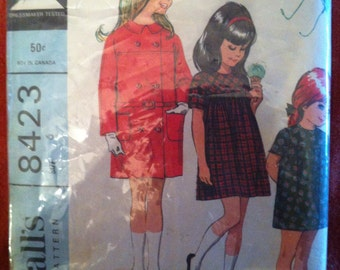 1966 McCall's 8423 Pattern Girl's dress and coat