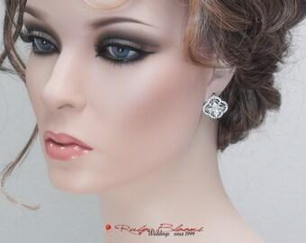 Bridal Earrings. Crystal Wedding Earrings. Bridesmaids Earrings. Wedding Bridal Accessories, Post Earrings, Jewelry - Ruby Blooms Jewelry