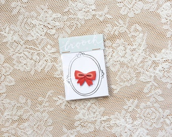 Red bow pin | red ribbon | hand drawn, shrink plastic brooch