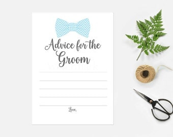 Advice for the Groom to Be, Marriage Advice for the Groom, Blue Bow Tie Advice Card Instant Download PDF Printable