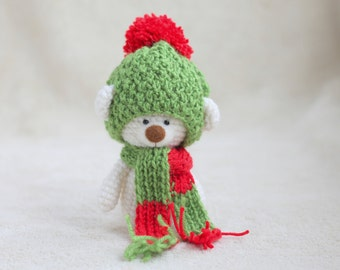 Christmas teddy bear in the hat and scarf - small amigurumi teddy bear, personalized bear gift, Christmas teddy bear MADE TO ORDER