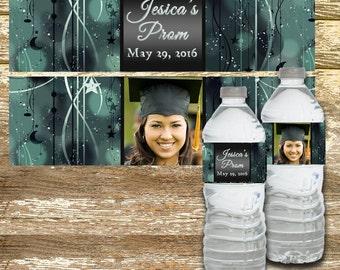 Water Bottle Labels - Prom Water Bottle Labels, Black and Silver, Water Bottle Label, Personalized Water Bottle, Graduation Labels