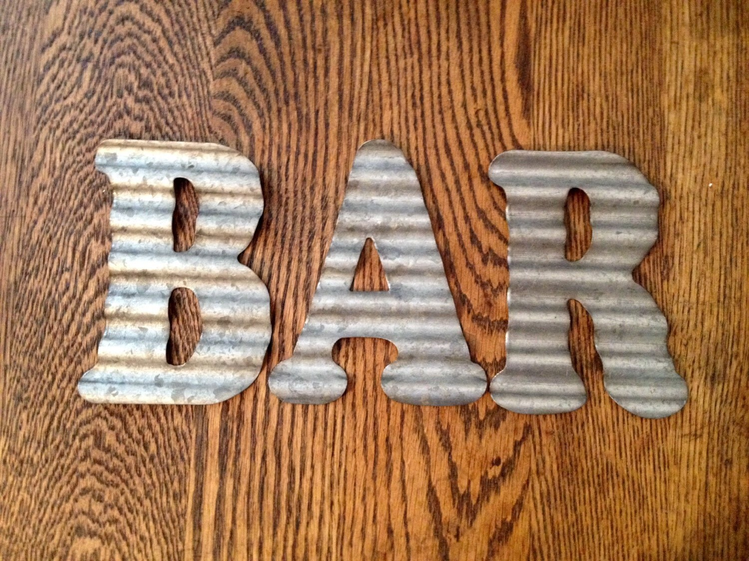 Galvanized Metal Letters Bar Industrial Wall Decor Country
