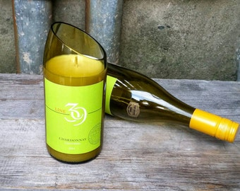 Chardonnay Wine Decor Candle, Upcycled Line 39 Olive Green Bottle, Lime Green Label