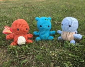 Crochet Kanto Starter Pokemon Amigurumi | Crochet Bulbasaur, Squirtle, and Charmander |Plushie  Crochet Stuffed Pokemon