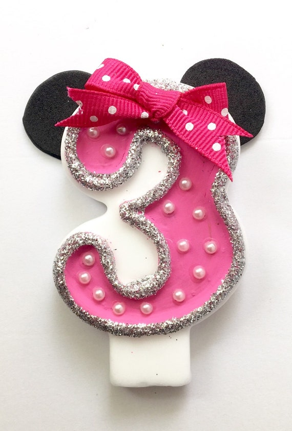 Items similar to Minnie Mouse /Inspired Birthday Candle ...