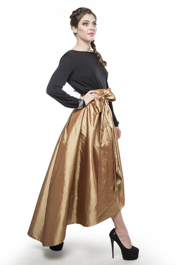 Evening Asymmetrical Skirt Gold. Long Skirt Bridesmaid Formal