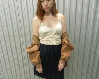 1990's Navy Pin-Striped A-line Midi Skirt