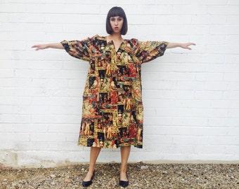 40% SALE! 1980's Egyptian Queen Brown Cotton Maxi Dress