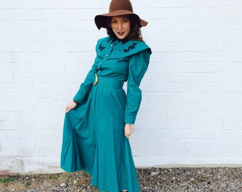 1980's Southwest Turquoise Maxi Dress with Gold Details