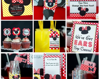 Red Minnie Mouse Party Decorations INSTANT DOWNLOAD - Red Minnie Mouse Birthday Party by Printable Studio