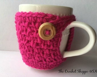 Crochet Coffee Cup Cozy Shocking Pink Color Made to Order