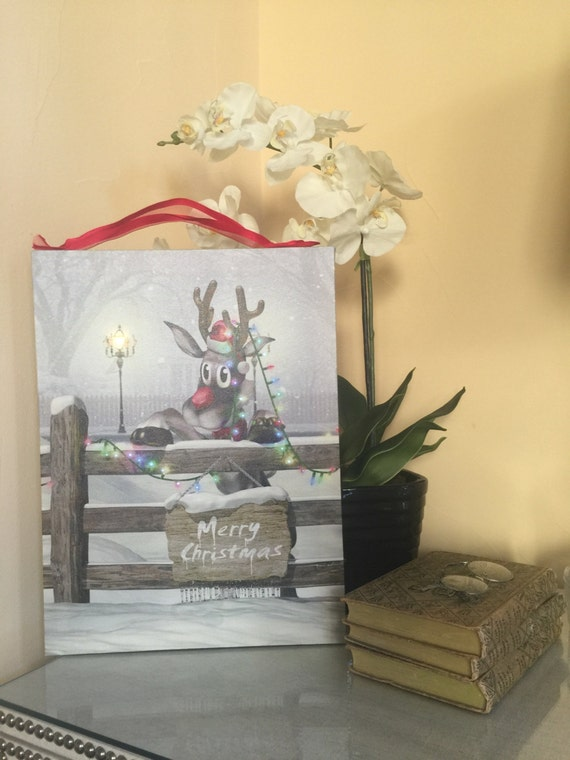 Christmas decorations rudolph wall art reindeer sign lighted for Well dressed home christmas decorations
