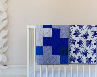 Modern Octopus Quilt - Mystery Food - Plus Quilt - Gender Neutral - Crib Quilt - Blue - Gray