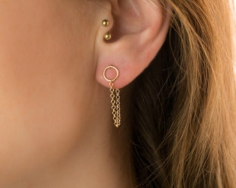 Gold Circle Earrings, gold circle studs, gold chain studs modern edgy studs delicate chain earrings simple chain earrings small circle studs
