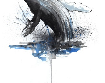 Humpback Whale / Nautical Decor /Print / Wall Art / Watercolor