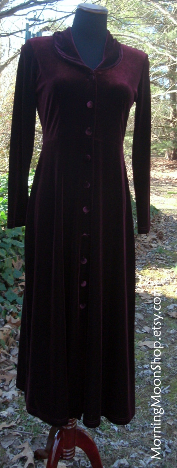 BURGUNDY VELVET Midi, Button-Down DRESS, Elegant Velour Wine Red, Long sleeves, Vintage Gothic Bohemian Stevie Nicks Gypsy Witch, 1990s, P/S