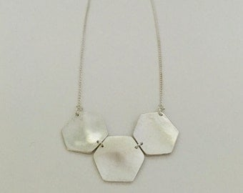 Three large hegaxons, geometric necklace, statement necklace, fine silver with sterling silver chain
