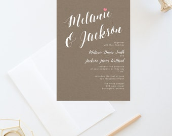 DIY Printable formal wedding invitation suite, one colour cursive wedding invitation, customizable wedding invitation suite