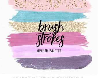 Pastel Brush Strokes Clip Art | Hand Painted Radiant Orchid Gold Glitter Acrylic Paint Graphic Elements | Digital Design Resource