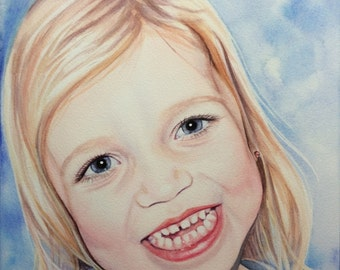 Custom Portrait from Photo, Baby Watercolor Portrait, Child Portrait, Personalized Portrait