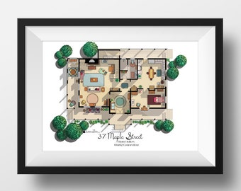NEW- Gilmore Girls House Floor Plan- Lorelai and Rory's House Layout - Ground Floor - Gilmore Girls Poster- Gift for Gilmore Girls Fan