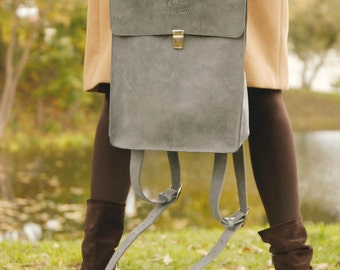 Grey genuine leather backpack, grey leather rucksack, leather backpack, leather rucksack, autumn backpack, fall bag, back to school, autumn