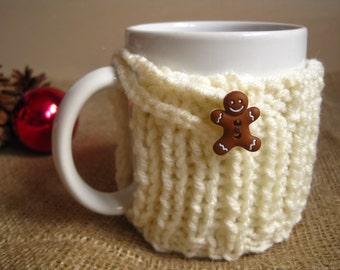 Gingerbread Man Coffee Mug Cozy – Christmas Cozy - Stocking Stuffer – Coworker Gift - Knit Mug Cozy - Coffee Cup Warmer - Coffee Cup Cozy