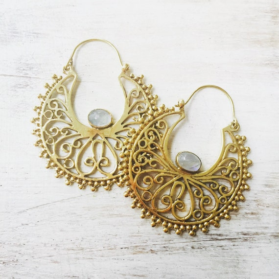 brass boho earrings indian style gypsy earrings turquoise. Black Bedroom Furniture Sets. Home Design Ideas