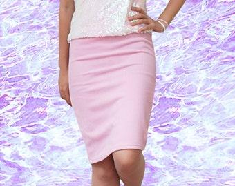 Everyday High Waist Pink Pencil Skirt