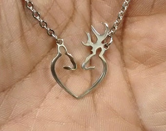 Buck And Doe Necklace - Deer Hunting - Mothers Day Gifts - Hunting Jewelry - Hunting Gift - Couple Hunting Jewelry - Buck and Doe Jewelry