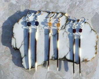 Porcupine Quill Earrings, Porcupine Quill Jewelry, Iolite Earrings, Citrine Earrings, Garnet Earrings, Gemstone Earrings