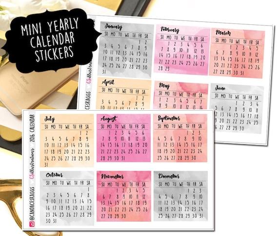 Mini Year Calendar : Mini yearly calendar week at a glance perfect by