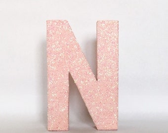 Pink Glitter Stand Up Letter - Initial - Monogram -Wedding - Engagement - Shower - Birthday - Party - Home Decor - Photo Prop