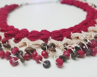 SALE Red Crochet Necklace - Moms Gift - Bead Crochet Necklace - Wearable Art - Crochet Jewelry - Aunt Gift - Wife Gift - Crochet Accessories