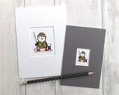 Fishing gift, fishing penguin, little fisherman print, Fathers day gift, fishing print
