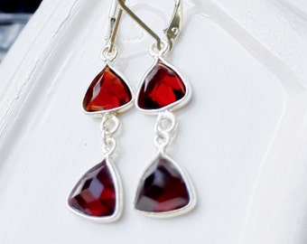 Red garnet earrings. Sterling silver earrings with red garnet triangle in bezel. Sterling silver red garnet earrings.