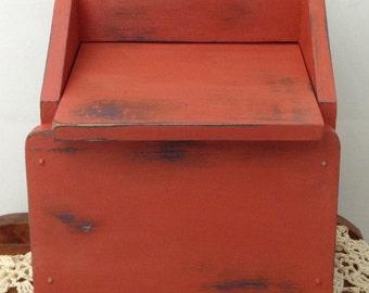 Vintage Recipe Box Salt Box Stash Box Chalk Paint Box Desk Organizer Mail Organizer Vintage Kitchen Decor Farmhouse Decor