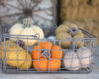 Set of 6 Hand Knitted Pumpkins in Shades of the Harvest, fall decor