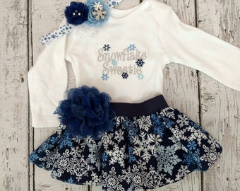 Girls Christmas outfit - girls snowflake outfit - Snowflake Sweetie girls outfit - snowflake clothes - winter wonderland outfit - onederland