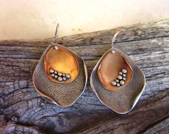 Copper & Sterling Silver Hammered Earrings - #11