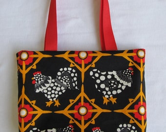 Fabric Gift Bag/ Small Tote/ Hostess Gift Bag- Chickens