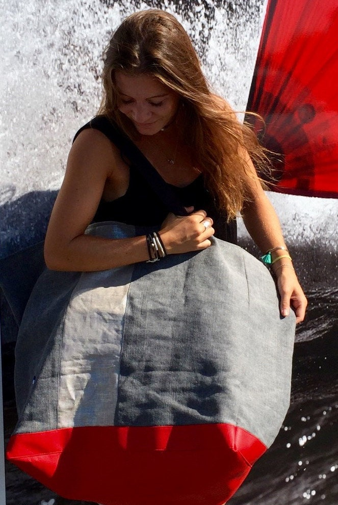 GIANT BEACH BAG.xxl Tote. Lacanau Beach cotton and linen extra