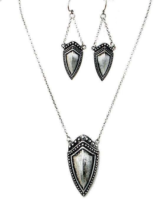 Medieval Shield  Necklace and Earrings Set