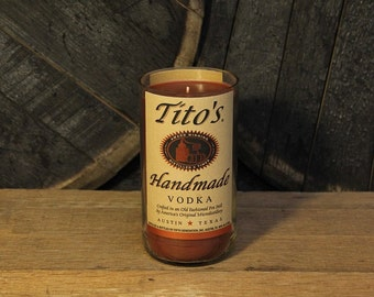 Tito's Vodka Candle / Recycled Vodka Bottle Handmade Soy Candle / Glass Bottle Candle / Titos Vodka Gift / Vodka Lovers Gift / Titos Candle