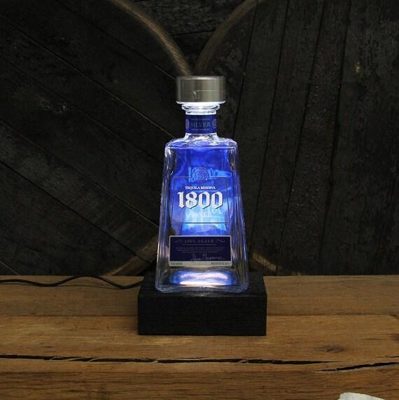 1800 Tequila Bottle LED Light / Reclaimed Wood Base & LED Desk Lamp / Handmade Tabletop Lamp / Upcycled Tequila Bottle Lighting / Liquor